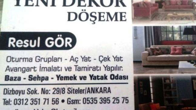 Ankara Mobilya | Yeni Dekor Döşeme